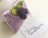 Crocheted Tea Travel Purse / Tea Purse / Tea bag Holder / Tea Wallet - in Pure Cotton - Light Purple with Berries