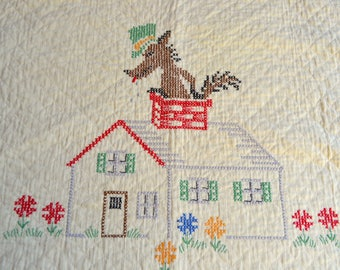 Vintage Baby Quilt Blanket - Three Little Pigs and Big Bad Wolf - Hand Embroidered Heirloom