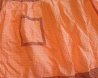 Vintage Gingham Cross Stitch Half Apron