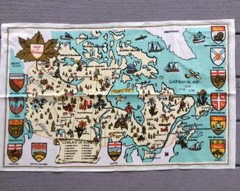 Vintage Canada Souvenir Tea Towel
