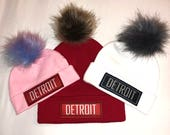 Detroit fold-over pom beanie