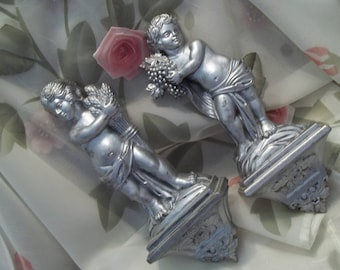 MINT Gorgeous Pair of Syroco Silver Cherub Wall Plaques -  Wall Decor - Vintage - Shabby Chic - Made in USA