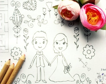 Wedding Coloring Pages Childrens Wedding Favor - Personalized Printable Coloring Page, Wedding Coloring Page, Coloring  - Party Favors