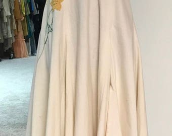 Vintage 1970s Boho Festival Ivory Maxi With Floral Applique And Embroidery