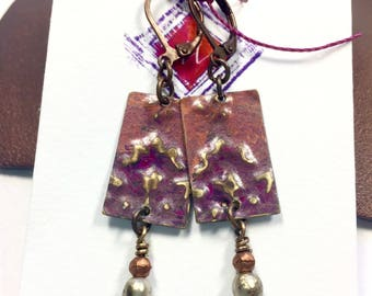 Mauve Patina Brass Earrings, Brass and Glass Earrings, Artisan Crafted Earrings, Dangle and Drop Earrings