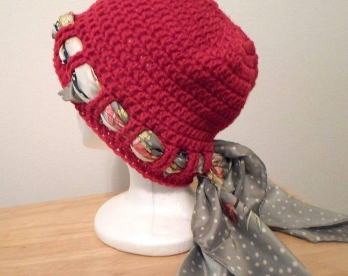Crochet Hat - Crochet Cap in Red Acrylic Yarn - Chemo Cap