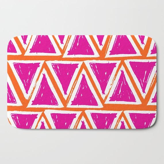 Bath Mat - Magenta Bath Mat - Orange Bath Mat - Bath Rug - Shower Mat - Triangle Rug - Pink Rug - Geometric Rug - Orange Rug