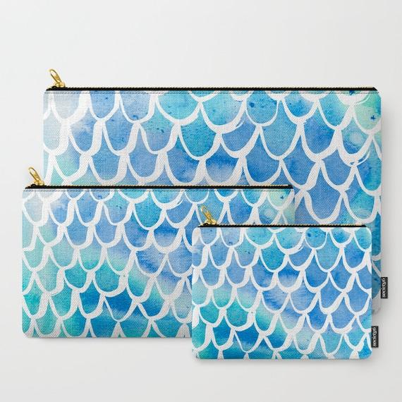 Blue Mermaid Zippered pouch - Zipper bag - Blue pencil case - Mermaid Ipad bag - Art pouch - Pencil bag - Blue Watercolor Makeup bag