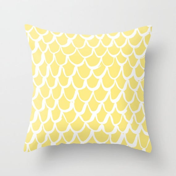 Buttercup Yellow and White Mermaid Throw Pillow . Yellow Pillow . Yellow Cushion . Mermaid Pillow . Yellow Pillow . Cushion 14 16 18 20 inch