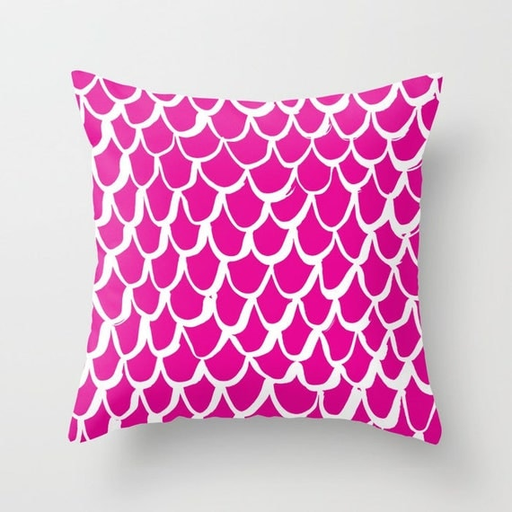 OUTDOOR Throw Pillow . Mermaid Outdoor Pillow . Magenta patio cushion . 16 18 20 inch . Mermaid Outside Pillow . Magenta Pink Lumbar Pillow