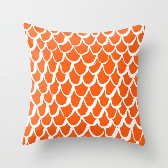 OUTDOOR Throw Pillow . Mermaid Outdoor Pillow . Orange patio cushion . 16 18 20 inch . Mermaid Outside Pillow . Orange Outdoor Pillow