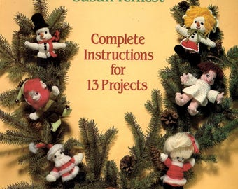Crocheting Christmas Ornaments Gingerbread Boy Girl Soldier Jack-in-a-Box Angel Santa Mrs Claus Mouse Bear Treetop Angel Craft Pattern Book
