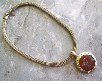 Vintage AFJ Mesh Chain Choker with a faux Carnielian Intaglio Roman Soldier pendant with Rhinestones