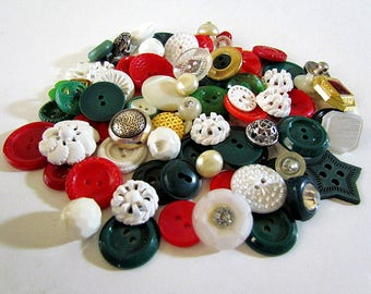 Lot of 90 mixed Vintage Buttons glass metal plastic pierced celluloid