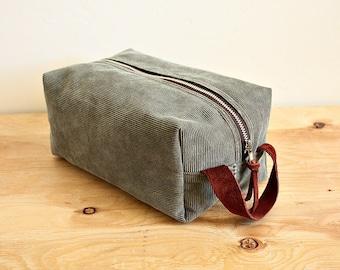 Corduroy dopp kit/ medium mens toiletry bag/ canvas pouch/ travel kit/ leather trim - ready