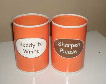 Orange Classroom Pencil Holder Set, Tin Can Pencil Holder with Labels, Classroom Organization, Teacher Gift, Orange Desk Accessories  - 994