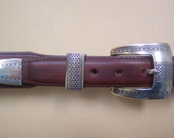Vintage Men's Western Belt with Silver Buckle