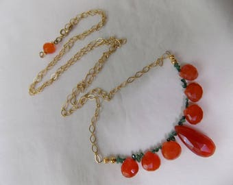 FACETED CARNELIAN and EMERALD Necklace