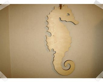 """Wooden Seahorse Wall Hanging- Unfinished/ 11 & half """" tall/ Home Decor/ Craft Supplies*"""