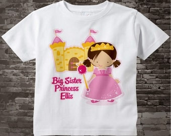 Princess Big Sister Shirt, Personalized Big Sister Shirt or Onesie, Big Sister Shirt for Toddlers and Kids 07152014a