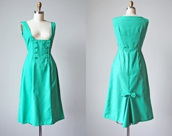 1950s Jumper Dress - Vintage 50s Aqua Green Cotton Wiggle Dress w Fishtail Pleat M - Just for Kicks Dress
