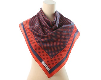 POLKA DOT Scarf 70s Red Navy Blue Gold Threaded Retro Neck Scarf Neckerchief Shawl Mod Vintage Neck Scarf 1970s Kerchief Hipster Women Gift
