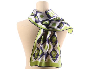 Mens Gift Vintage Scarf 70s Classy Gentleman Geometric Abstract Geo Print Muffler White Green Purple Shawl Men Father Boyfriend Gift Muffle