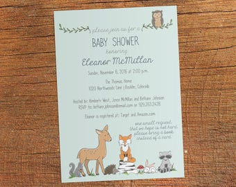 Woodland Baby Shower Invitation, Baby Boy Rustic Woodland Animals Invite, Forest Animals, Fox, Deer, Owl, Raccoon, Printable Shower Invites
