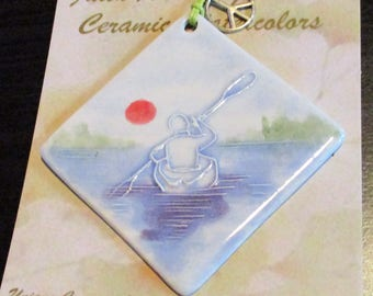 Ornament - KAYAK PADDLER handmade ceramic watercolor camp nature lake river sport ornament less than 25.00 by Faith Ann Originals