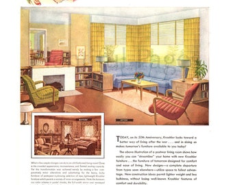 1943 Kroehler Furniture Vintage Ad, 1940's Decor, 1940's Livingroom, Advertising Art, Retro Decor, Vintage Livingroom, Great for Framing.