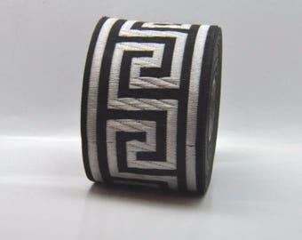 Black and Silver  Greek Key Jacquard Ribbon Trim
