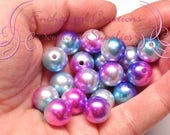 12mm Mermaid Pearl Beads Qty 20, Shimmery Pink, Lavender, Aqua and White Coated Bubblegum Beads, Gumball Beads, Bracelet Bead, Necklace Bead