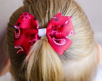 Hair Bow - Small Red Paisley Pinwheel Bow