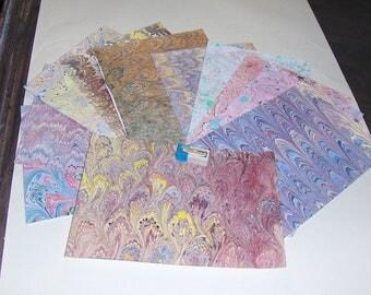 pack 12, hand  marbled paper,, マーブル紙,   scrapbook paper -  cm 25 x 17,5  -  6010