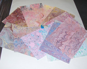 pack 12, hand  marbled paper,, マーブル紙,   scrapbook paper -  cm 25 x 17,5  -  6016