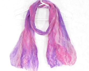 Cobweb Felted Scarf, Handmade Wool Winter Scarf, Pink Purple Fuchsia, Long Womens Scarf, Winter Fashion Accessory, OOAK Gift for Her