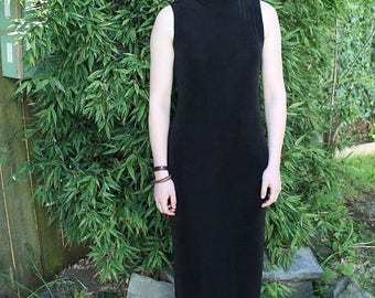 SPRING SALE 90s Maxi Dress, Turtleneck Dress, Black Mock Neck Dress, Long Tight Dress, Minimalist, Sleeveless Dress, Grunge, Goth, Tight Max