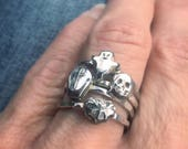 Set of four Halloween rustic sterling stacking rings - size 7.