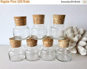 SALE EVENT Glass Apothecary Jars w Cork Lids - Set of 7 (3 Sets Available) Small Glass Containers Wedding Favor w Cork Top - Small Glass Bot