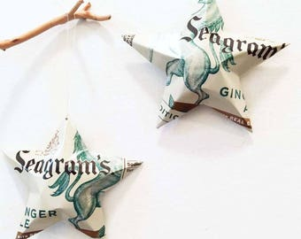 Seagrams Ginger Ale Soda Stars Christmas Ornaments Aluminum Can Upcycled
