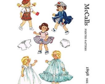 PDF Doll Clothes 7-8 inch such as Ginny, Muffie, Pam - Print at home - Sewing Pattern 1898