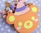 RESERVED LISTING Pumpkin Bear with Pink Witch Hat Necklace - Kawaii Lolita Halloween Spooky Cute