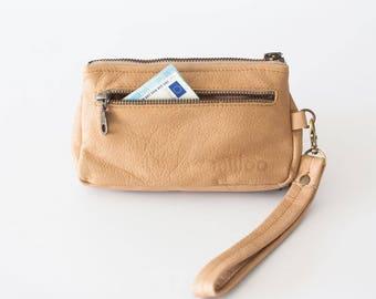Wristlet wallet phone case in nude beige leather,womens wallet,clutch wallet,phone case,zipper wallet - Thalia Wallet