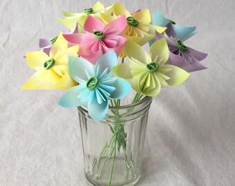 Mini Pastel Flower Bouquet, Floral Arrangement, 1st Anniversary, Cancer Patient Flowers, Office Decor, Paper Flowers, Origami, Miniature