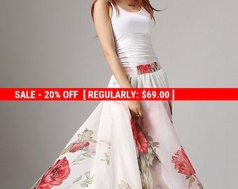 floral Maxi skirt - Pretty Pink flowers print dress - long chiffon skirt with elasticated waist - elegant boho skirt - summer skirt (1051)