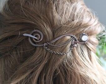 Fantasy arch copper hair pin with smooth rose quartz stick, Hair clip, Hair brooch, Hair jewelry, Hair barrette, Shawl pin, Fibula - HP033