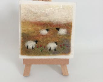 Original mini felted sheep canvas