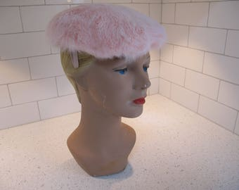 Hat Cap 1950s Pale Pink Rabbit Fur Wired Side Clips Dainty Fluffy Soft Tagged Schuster's Milwaukee Dressy Vintage Ladies Millinery
