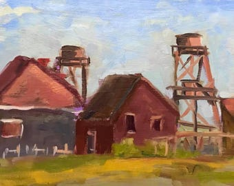 MENDOCINO TOWERS VIEW - 6 x 12 - California - Coast, Coastal - Plein Air Landscape - Original Oil Painting - Home Decor - Artwork - Wall Art