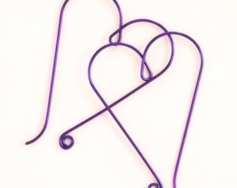 Purple Heart Hoop Earrings with a Swirl in Niobium